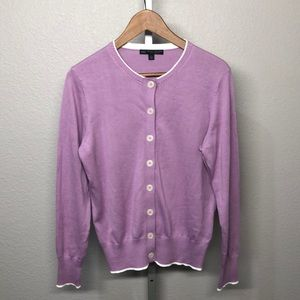 Lavender Brooks Brothers Cotton Cardigan Sweater